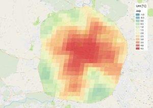Rome: Urban Heat Island (night temperature anomalies) for July, average on 16 years